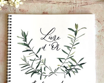Olive branch watercolor guestbook for wedding guestbook, custom guest book wedding album, personalized guestbook custom, olive branch decor