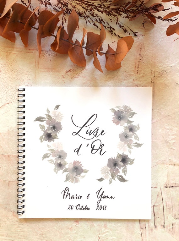 Personalised Watercolour Bouquet Wedding Guest Book