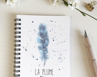 Feather watercolor personalized notebook custom notebook for personalized gift, notebook custom with feather watercolor and firstname, a6