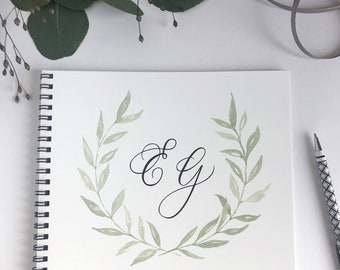 Laurel wreath watercolor monogram guestbook for wedding guestbook, custom guest book wedding album, personalized guestbook custom birthday