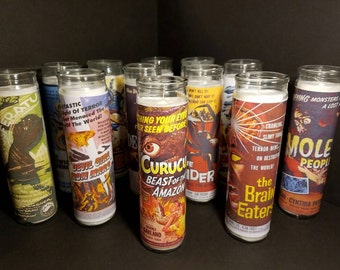 B Horror Movie Poster Prayer Candles