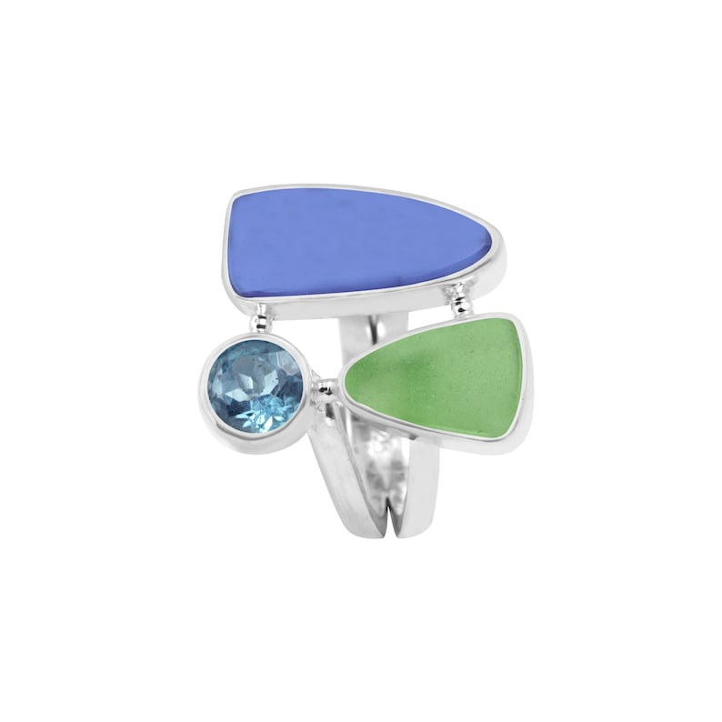 Bring home the beach with this Awesome Sea glass and blue topaz ring