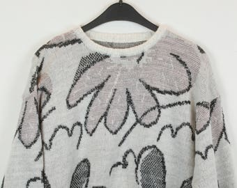 Vintage Sweater, Vintage Knit Pullover, 80s, 90s, white and rose, oversized look