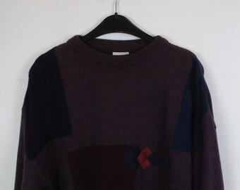 Vintage Sweater, Vintage Knit Pullover, 80s, 90s, oversized look, geometric pattern, purple, New Fast