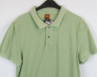 a5ae88fa5 BOSS, Vintage Poloshirt, 90s, vintage Hugo Boss, Poloshirt light green, 90s  clothing (KK/03/606)