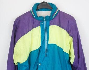 Vintage jacket, rain jacket, windbreaker, 90s, sportswear, 90s clothing, purple, yellow, turquoise, big stripes