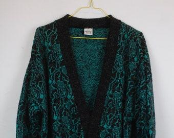 Vintage Cardigan, Vintage Knitwear, 80s, 90s, black, turquois, pattern, long, oversized
