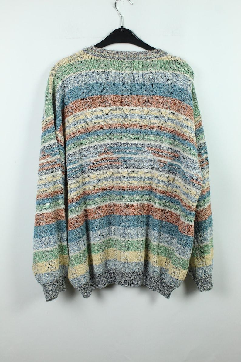 90s Fashion patterned Size L Vintage Knitwear 80s KK12080 90s Clothing Vintage Cardigan 90s