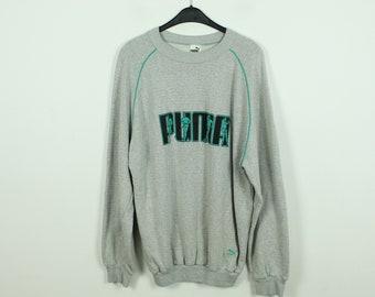 Vintage Puma Sweater, Size L, Sweatshirt, with Logo Print, grey turquoise (KK/21/09/235)