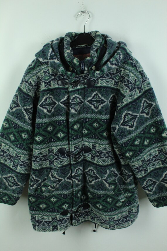 Vintage 90s crazy pattern fleece jacket, Size L, … - image 2