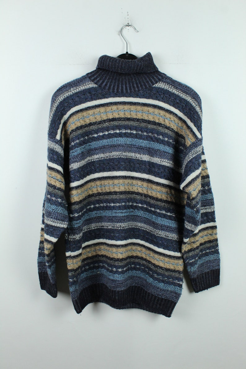 90s jumper Size M Vintage Sweater striped pattern Vintage Pullover 90s clothing with wool KK12564