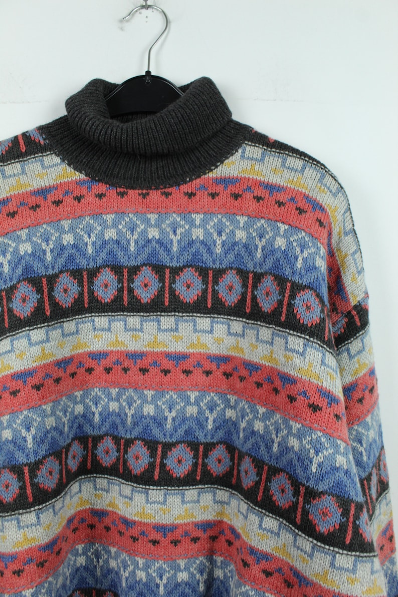 90s clothing Vintage Pullover 90s jumper Size L patterned KK12567 Vintage Sweater with wool