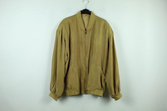 Vintage silk blouson 90s, Size M, silk bomber, 90s