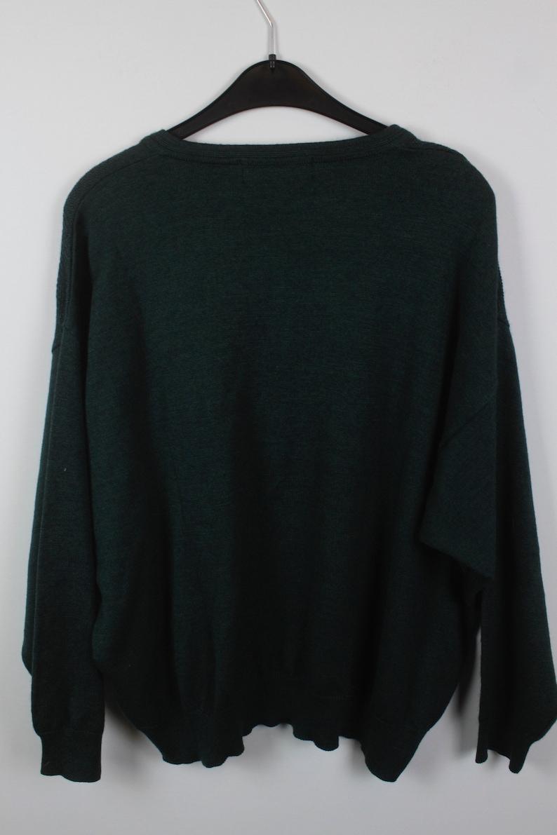 v neck KK11322 wool 90s green 80s Vintage Knit Pullover oversized look Vintage Sweater