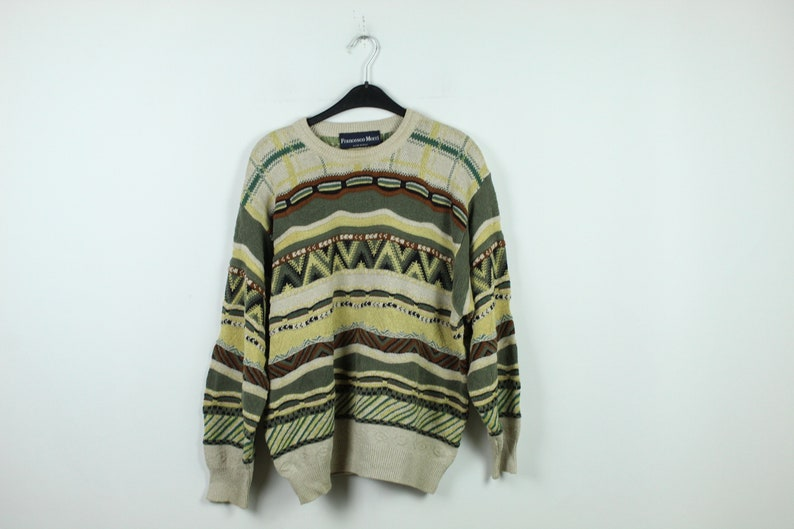 90s clothing KK10365 Size M striped pattern Vintage Sweater 90s jumper Vintage Pullover