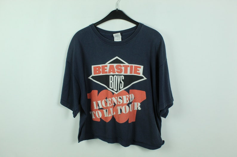 KK2101101 Vintage BEASTIE BOYS cropped T-Shirt Size xl with print licensed to ill tour bandshirt