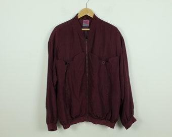 Vintage Silk Blouson 90s, Size XL, Silk, Blouson, 90s, red (KK/21/06/221)