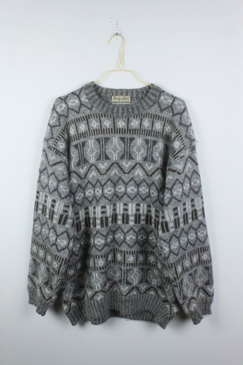 grey Vintage Sweater 90s white KK04413 Vintage Knit Pullover oversized look pattern 80s