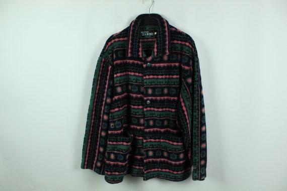 Vintage 90s crazy pattern fleece jacket, Size L, 9