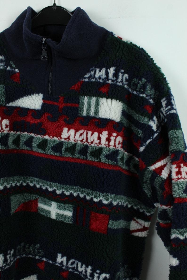 90s multicolored KK12082 Sportswear Size M 90s clothing fleece Vintage 90s Fleece sweater