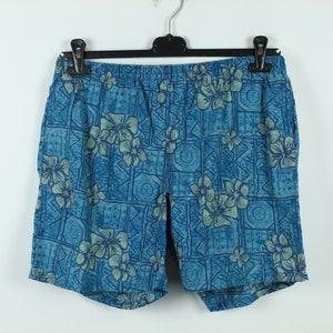 Vintage Men Hawaii Shorts size Extra Large XL 90s Knee Length Lightweight Summer Shorts Green Floral Beach Shorts Boardshorts Beachwear