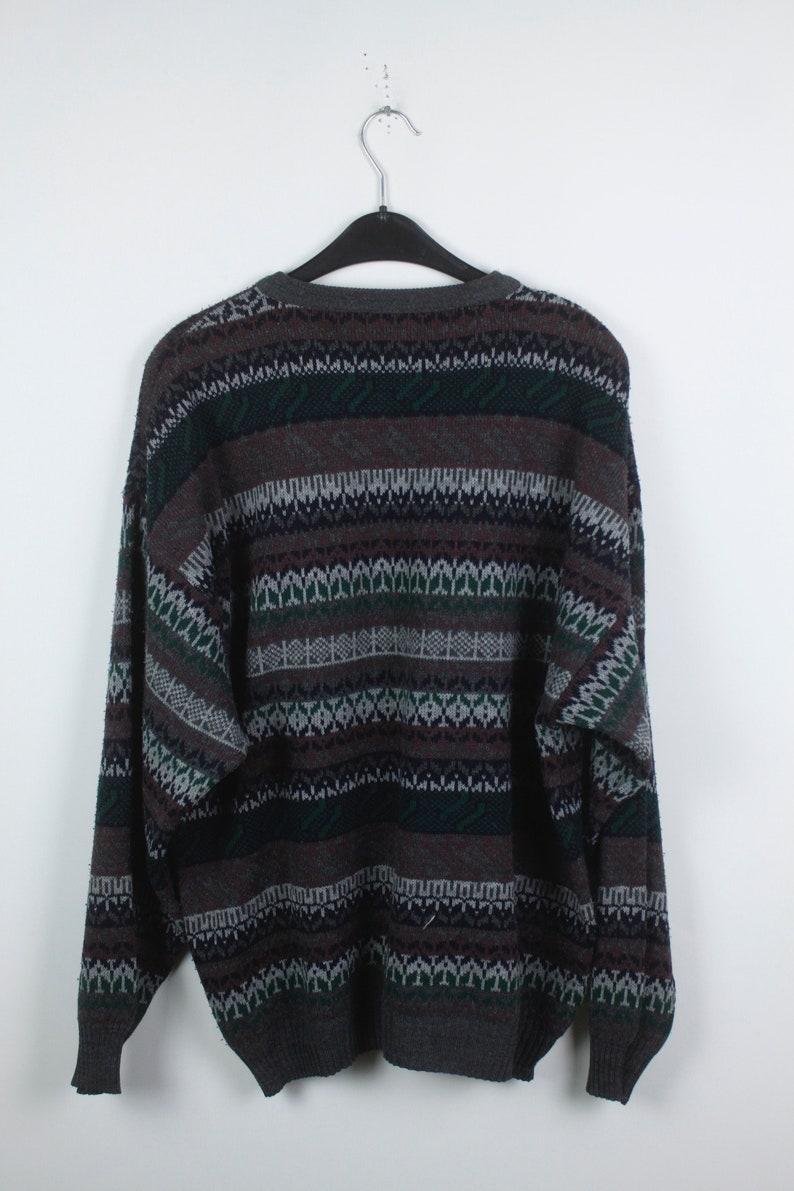knitwear Vintage Sweater KK04428 jumper 90s Vintage Knit Pullover pattern, 80s grey red