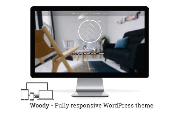 Woody sensible cartera mínima de Wordpress | Etsy