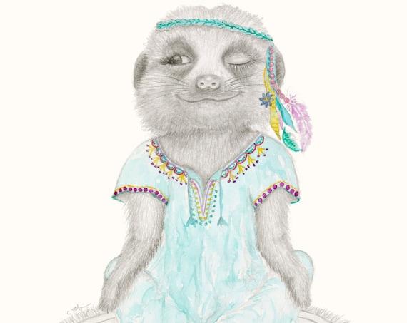 Frankie The Meerkat, meditating, fine art print, giclee, Bohemian,Hippy, Animal