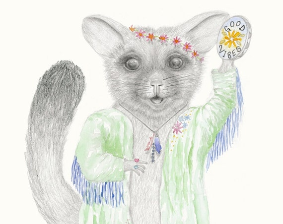 Bonnie the possum - fine art print, giclee, good vibes, dancing, girl, baby gift.