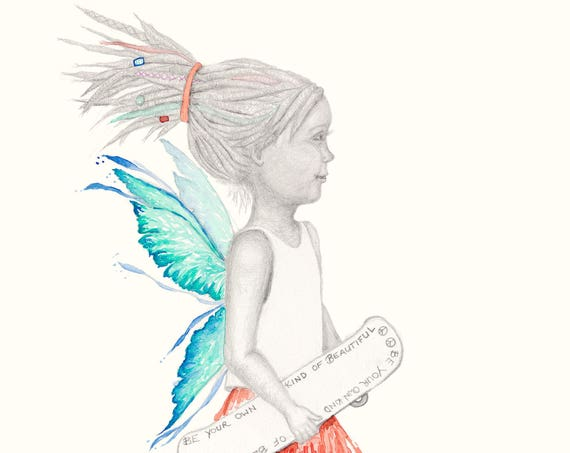 Willow the Fairy - watercolour, pencil, girl gift, skateboarder, skater, high tops, wall art, kids decor, kids room, inspirational
