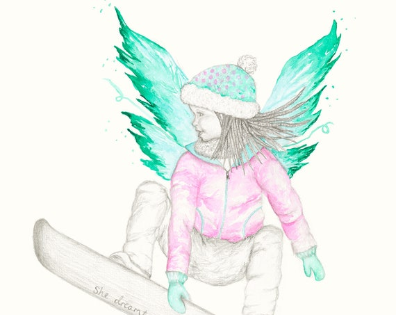 Fairy Art - Kids room prints | Snowboarding | Snowboarding Art | Inspirational Quotes | Girls Room Art
