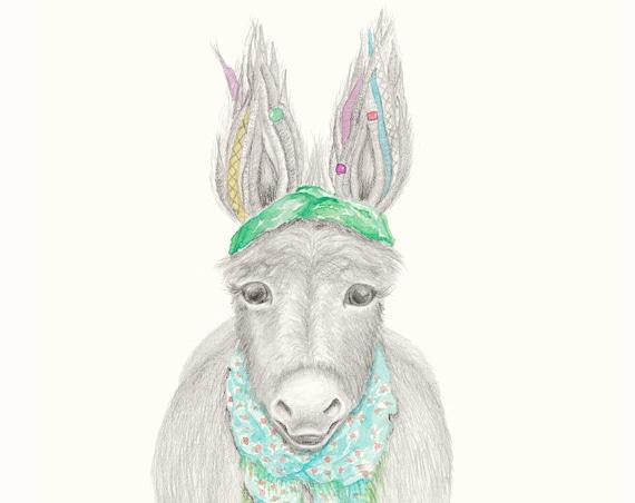 Deloris the Donkey - Bohemian Hippy Childrens Print