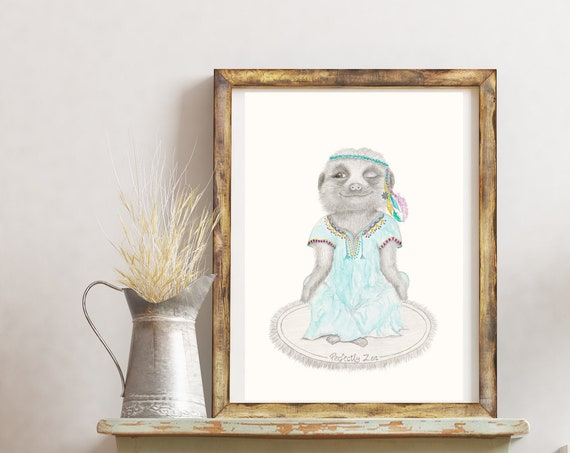 Frankie The Meerkat, meditating, fine art print, giclee, Bohemian,Hippy, Animal