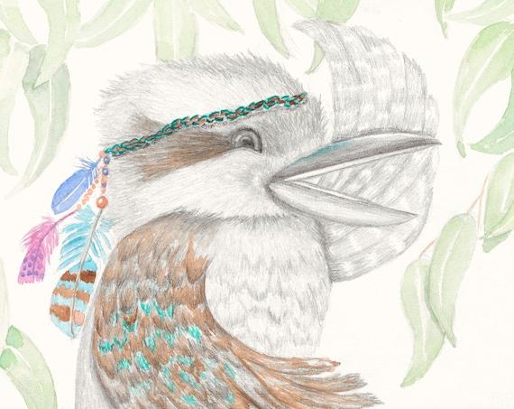 Kookaburra - Australian birds, fine art print, kids room, boho print, quirky, Australian art, Australian bush, wall art, watercolour