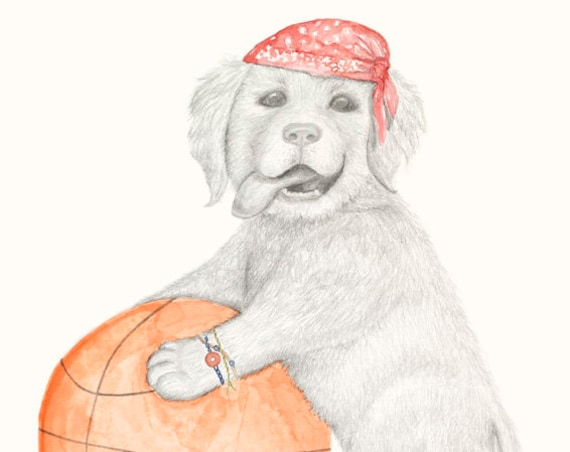 Buster the dog, basketball, fine art print, giclee, golden retriever, puppy, dog, childrens print, wall art, basketball dog