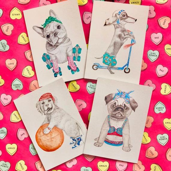 Set of 4 gift cards - dog set golden retriever, pug, dachshund and French bulldog