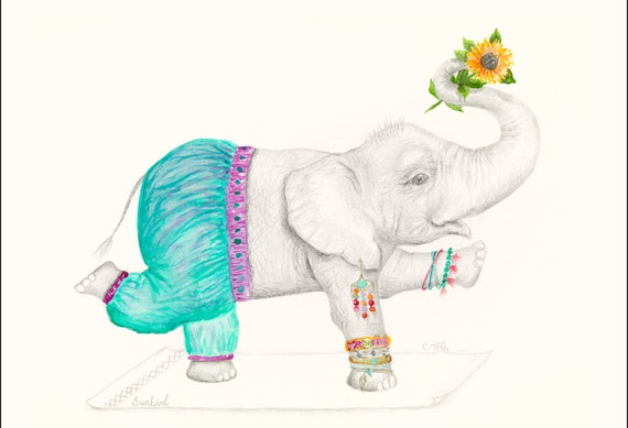 Ginger the Elephant, yoga, fine art print, giclee, bohemian, hippy, girl, children's print