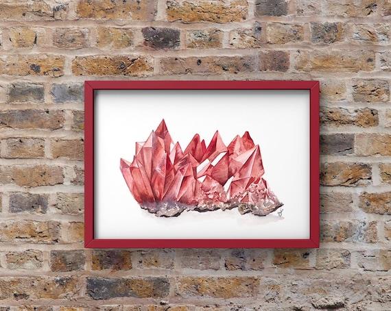 Ruby Print - Birthstone art| Large wall art| July birthstone| red ruby art | ruby wall art | Gemstone Decor