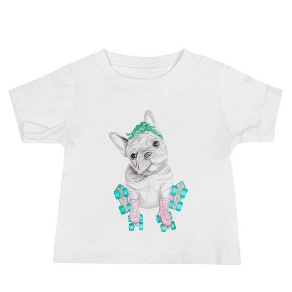 Baby Jersey Short Sleeve Tee - French bulldog -original hand drawn illustration