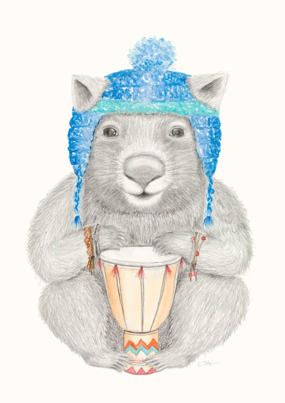 Wombat Art - Wombat print | Quirky Art | Boho Nursery Art | Boho Room Decor | Tumblr Room Decor |Boho Baby Decor