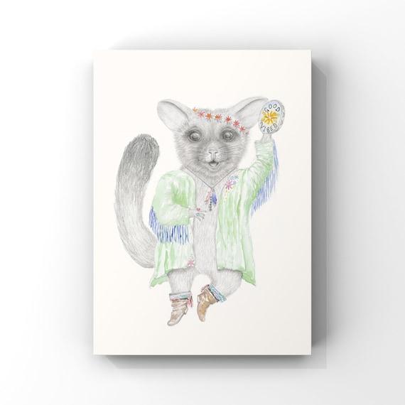 Bonnie the possum - fine art print, giclee, good vibes, dancing, girl, baby gift.