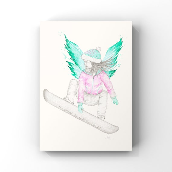 Fairy Art - Kids room prints | Snowboarding | Snowboarding Art | Inspirational Quotes | Girls Room Art
