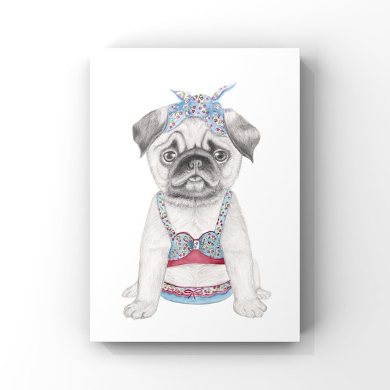 Pug dog, fine art print, giclee, puppy, dog, childrens print, wall art, rocker billy, whimsical art, dog art, Dog in bathers, quirky art