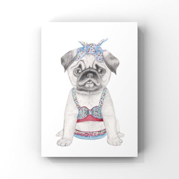 Pug dog, fine art print, giclee, puppy, dog, childrens print, wall art, rocker billy, whimsical art, dog art, Dog in bathers, quirky art