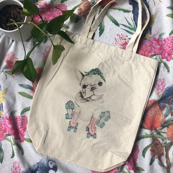 natural deluxe eco woven tote bag - Lulu the French bulldog