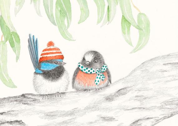 Blue Wren and Red Robin - Australian birds, fine art print, kids room, boho print, quirky, Australian art, Australian bush, wall art
