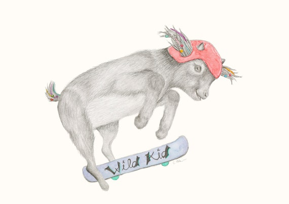 Ziggy the Goat - Bohemian, Hippy, Childrens Print, fine art print, giclee print, boy, gift idea, dreadlocks, skateboard