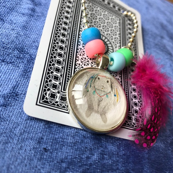 Emerald the bunny necklace, children, jewellery, hippy, boho, colourful