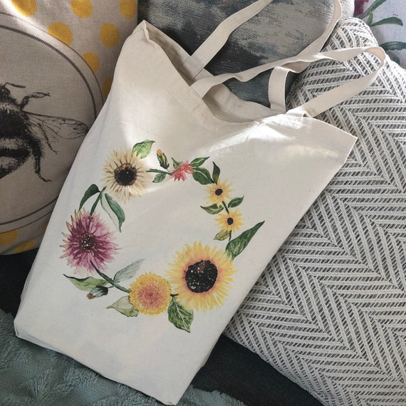 natural deluxe eco woven tote bag - Featuring circle of sunflowers
