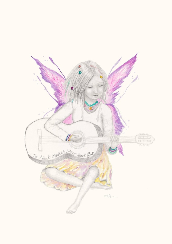 Sunny fairy - watercolour, pencil, wall art, kids decor, kids room, girl, girl gift, Hippy, baby shower, guitar, inspirational, print